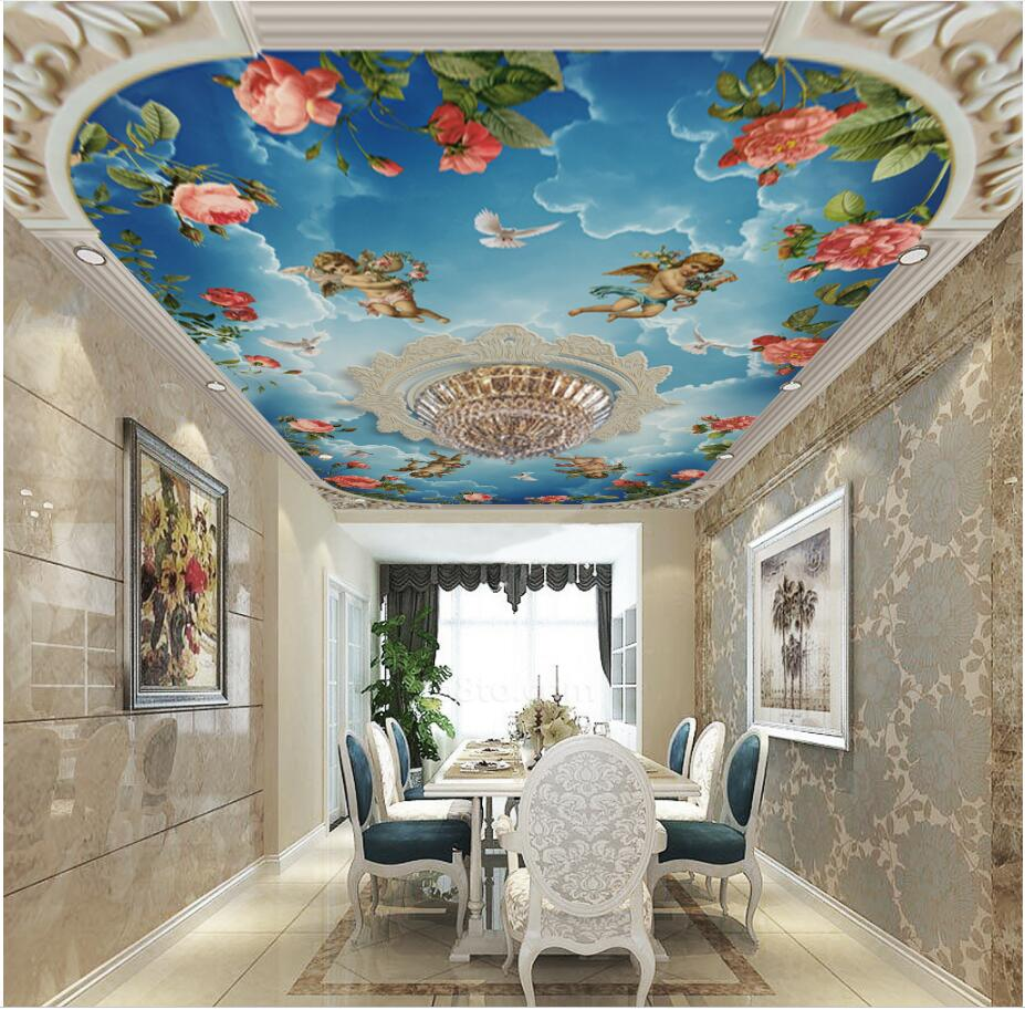 Custom 3d ceiling murals wallpaper European embossed pattern sky angel rose painting 3d wall murals wallpaper for living room custom 3d ceiling wallpaper beautiful sky maple murals for the living room bedroom ceiling wall waterproof wallpaper