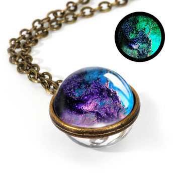 Galaxy Double Sided Pendant Necklace Jewelry Necklaces Women Jewelry Metal Color: LGS0034-Luminous