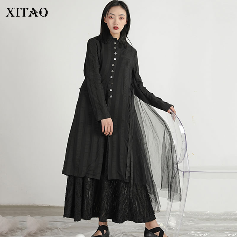 [XITAO] Single Breasted Women Korea Fashion Irregular Solid Color Turn-down Collar Full Sleeve Loose Lace Casual   Trench   XJ1163