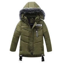 Winter Warm Thicken Fur Collar Long Child Coat Children Outerwear Windproof Cotton Filler Baby Girls Boys Jackets For 90 120cm