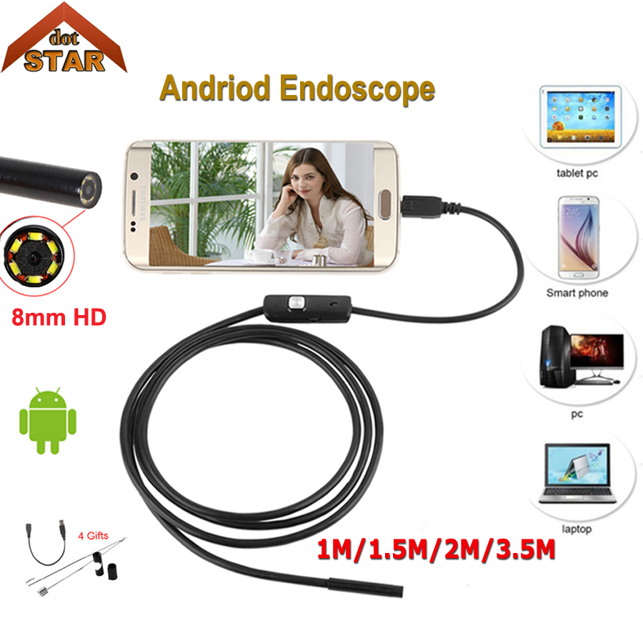 Stardot Endoscope 8mm lens Endoscope Android Camera 1M 2M 3.5M Waterproof Car Pipe Inspection Snake Tube Micro Endoskop Camera цена и фото
