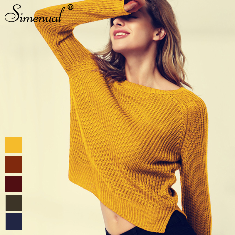 Simenual 2018 Fashion yellow sweaters for women autumn winter knitted jumper sueter mujer side slit lady's sweater pull clothes