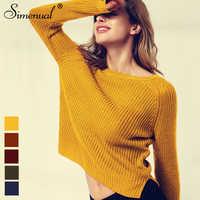 Simenual 2018 suéteres amarillos de moda para mujer Otoño Invierno suéter de punto sueter mujer abertura lateral señora suéter pull clothes