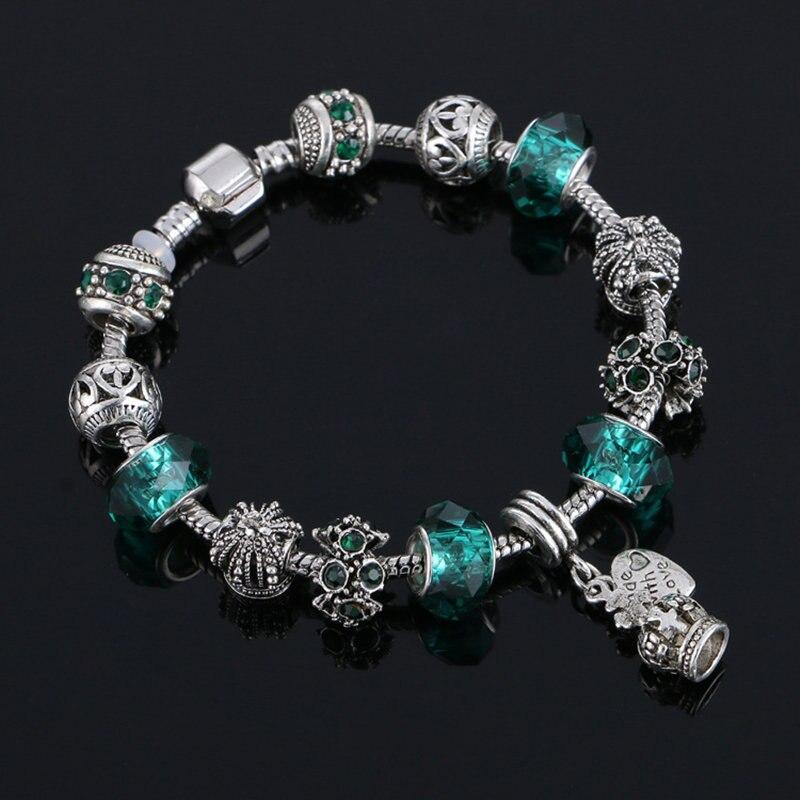 2017 couleur argent charme verre bracelets pour les femmes cristal coeur perles bracelets. Black Bedroom Furniture Sets. Home Design Ideas