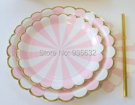 tableware pink stripes carnival unicorn princess paper plates gold paper straws for baby. Black Bedroom Furniture Sets. Home Design Ideas