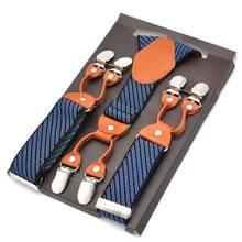 Tirantes elásticos de moda para Hombre, pantalón para Hombre de cuero, Clips, Suspensorio para adulto, Bretelles de 3,5x120CM