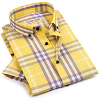 Men's Casual Checkered Plaid Dress Shirt Worn in Comfortable Stylish Summer Standard Fit Short Sleeve Button Down Cotton Shirts