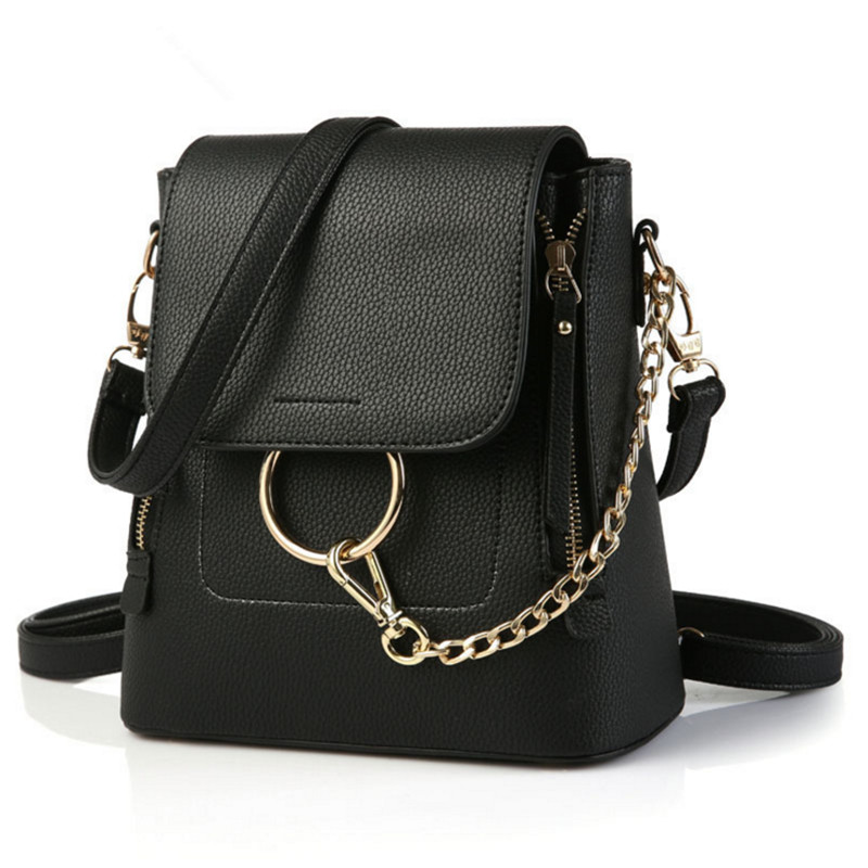 2017 new Double Zipper Chain Ring Shoulder Crossbody Bags For Women fashion PU Leather Bags Women backpack Female Bag Bucket bag tegaote new design women backpack bags fashion mini bag with monkey chain nylon school bag for teenage girls women shoulder bags