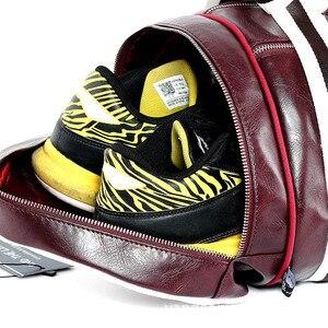 Image 2 - トップ男性旅行荷物独立したシューズバッグ収納女性フィットネスバッグpuレザー印刷バスケットボールトレーニングバッグXA253WC