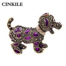 CINKILE Vintage Cute Dog Brooch Pin for Women Fashion Puppy Brooches Animal Broches Enamel Jewelry Coat Accessories New Gift(China)