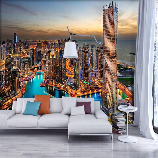 Wallpaper For Living Room Dubai Night Bright Lights Harbour Restaurant Cafe Wall Covering Paper Home