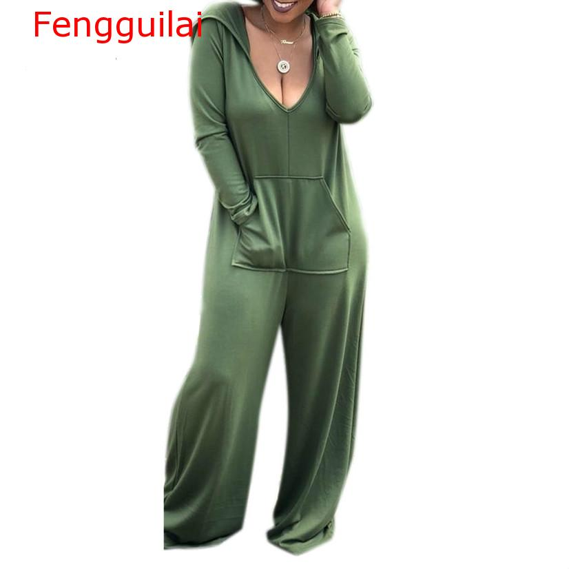 Fengguilai Long Sleeve Rompers Womens   Jumpsuit   Autumn Casual Loose One Piece Sexy Wide Leg Streetwear Bodysuit Overalls