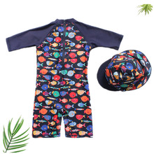 купить Funfeliz One Piece Swimwear for Boys Children Bathing Suit Cartoon Fish Swimming Suit with Swimming Cap 2018 Cute Boys Swimwear дешево
