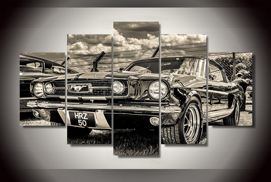 Frame 5 Piece Modular Home Decor Picture Ford Mustang Paintings On Canvas Wall Art For Home