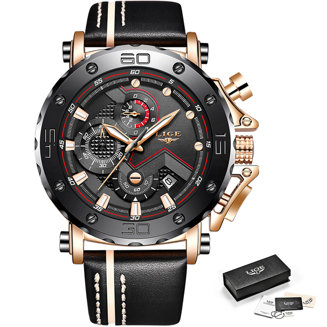2019LIGE New Fashion Mens Watches Top Brand Luxury Big Dial Military Quartz Watch Leather Waterproof Sport Chronograph Watch Men 5
