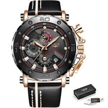 2019LIGE nouvelle mode hommes montres haut marque de luxe grand cadran militaire Quartz montre en cuir étanche Sport chronographe montre hommes