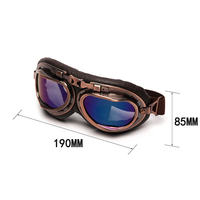 Triclicks Helmet Steampunk Copper Glasses Motorcycle Flying Goggles Vintage Pilot Biker Eyewear Goggles Protective Gear Glasses 5