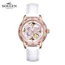SOLLEN Automatic Watch Women Luxury Leather Sapphire Red Waterproof Mechanical Watches Skeleton Diamond Lady Elegant Wristwatch