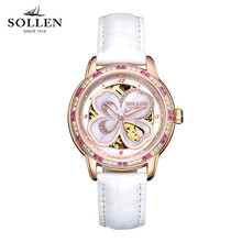 SOLLEN Automatic Watch Women Luxury Leather Sapphire Red Waterproof Mechanical Watches Skeleton Diamond Lady Elegant Wristwatch