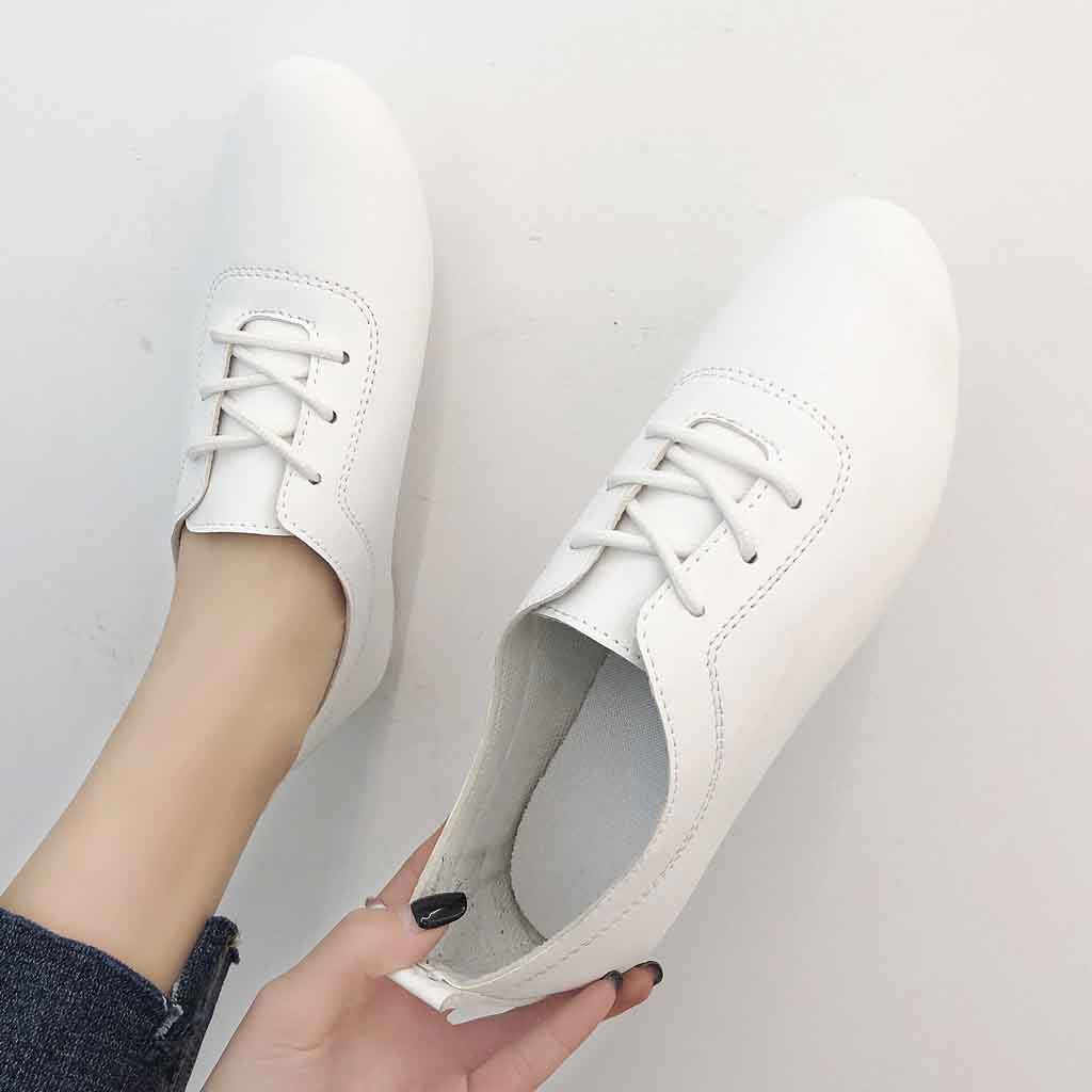 Women's  Solid Color Flat Shoes Casual Single Shoes Wild Women's Shoes Soft Ladies Shoes Loafers Autumn spring leather flats