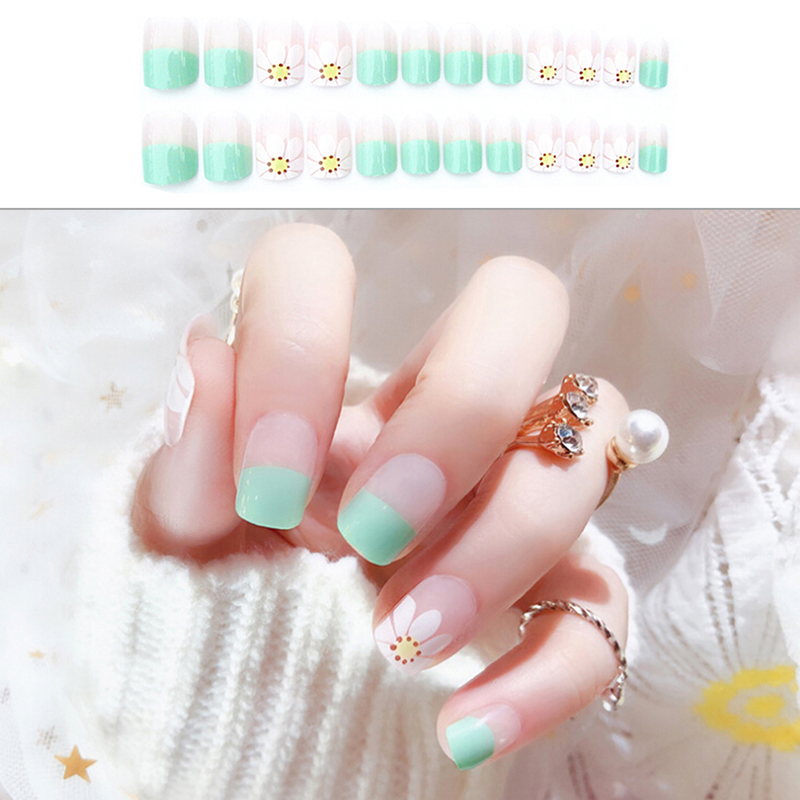 24pcs Fresh Style Flowers Printing False Nail With Glue 2g Nail Tips Art Design Fake Nail Sticker Good For Antipyretic And Throat Soother