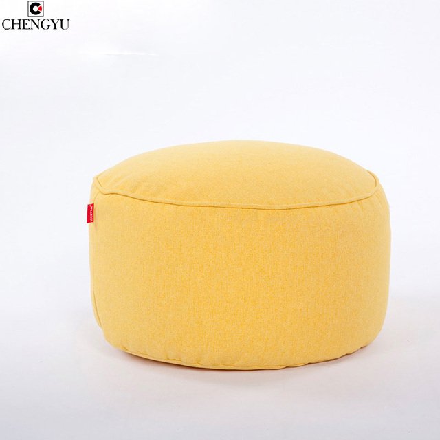 Pure Colors Living Room Furniture Footstool For Fashion Linen Fabric Round Bean Bag Chair