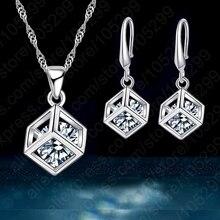 Модный дизайн набор украшений для женщин 925 пробы серебряный комплект ювелирных изделий квадратная Подвеска Ожерелье серьги продвижение