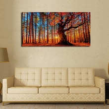 Canvas Wall Art Red Forest Woods Sunset Nature Picture Huge Big Trees on Mountain For Home Decor Bedroom Living Room