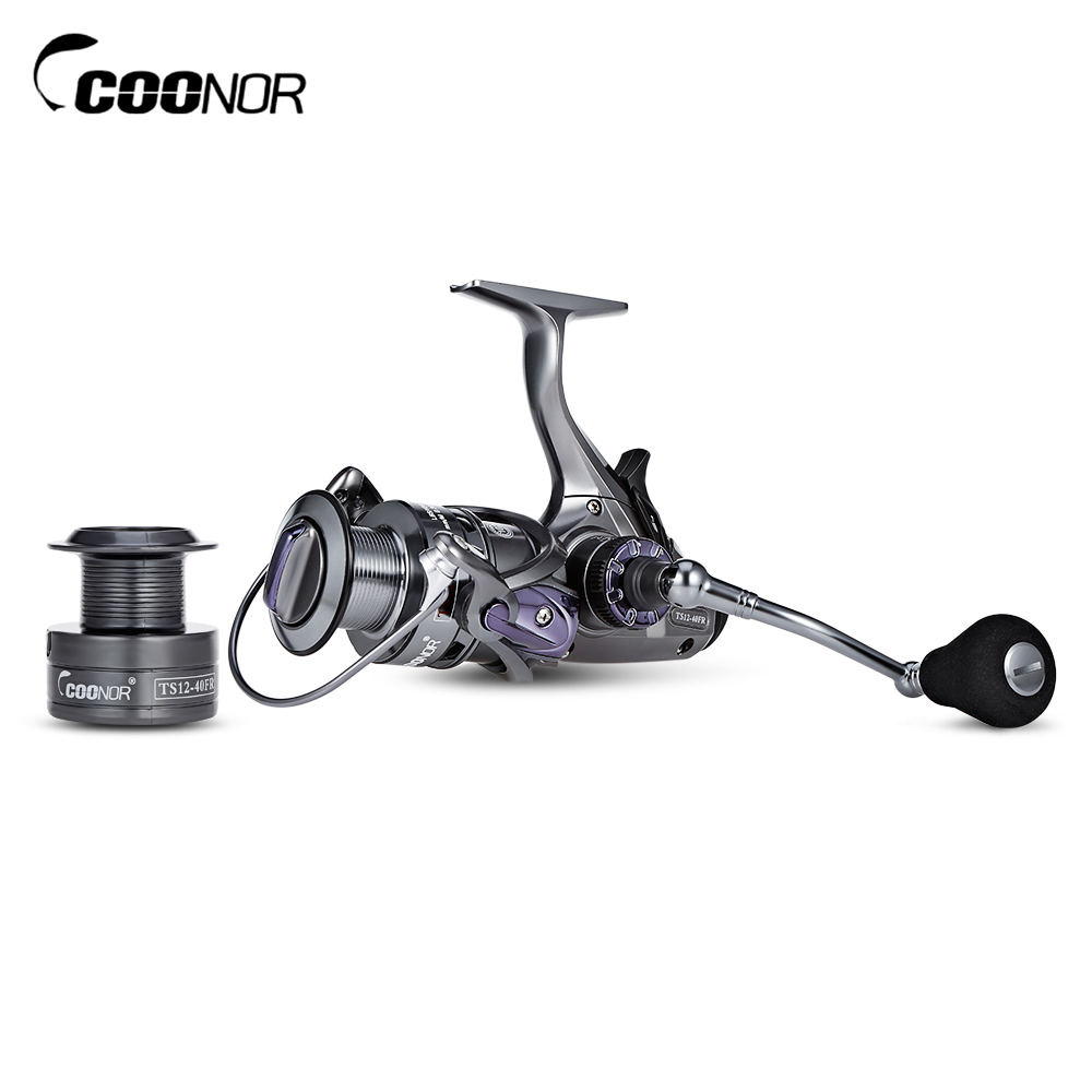 COONOR 10 + 1BB Double Gear Ratio 6.3:1 4.3:1 Spinning Fishing Reel with Metal Folding Handle coonor j12 9 1bb metal spool fishing reel 5 1 1 gear ratio spinning reel full metal spool with double t shape handles