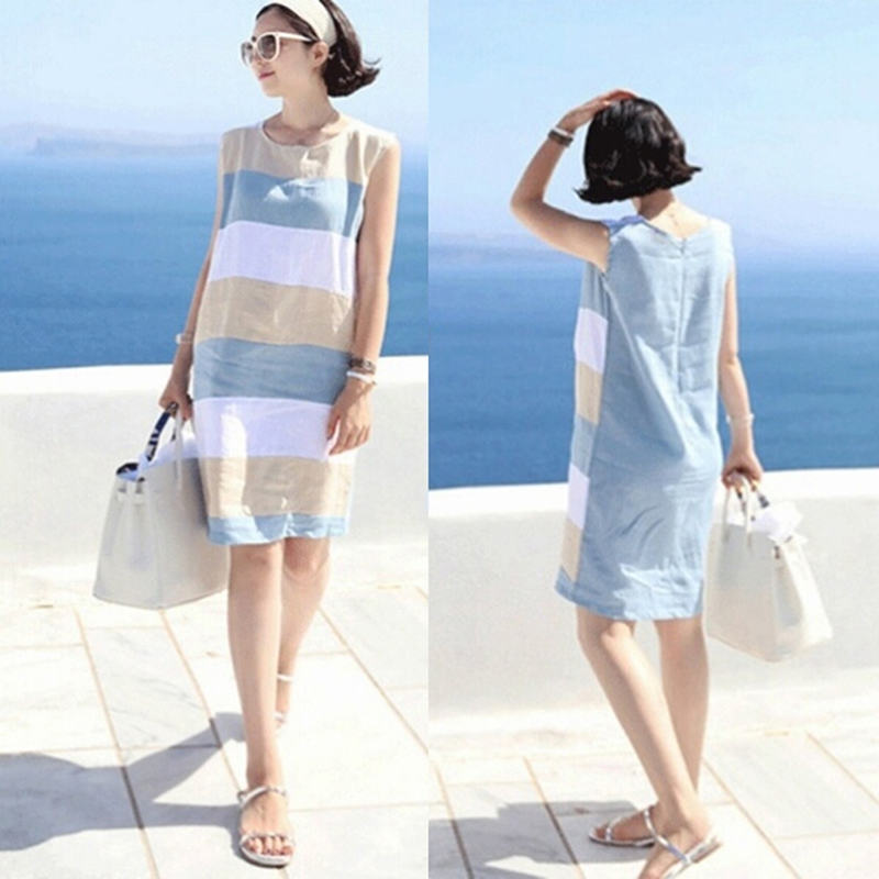 Summer Female Sleeveless Beach Party Dress Women Contrast Color Striped Knee Length Dress
