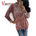 Vikuta Women Elegant o-neck Velvet Sweatshirts female Long Sleeve Casual Tops Ladies Pullover VC5002