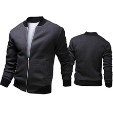 Men's Autumn Casual Jacket Long Sleeve Zipper Pockets Outwear Coat