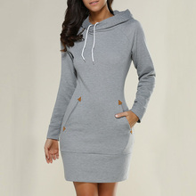 Autumn Hooded Dresses Women Pocket Long Sleeve Mini Hoodie Dress Plus Size Winter Casual  Clothings Vestidos