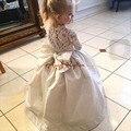 Glamorous blanco/marfil encaje transparente de manga larga vestido de primera comunión vestido de bola ocasión formal de la boda vestidos de niña