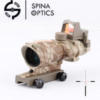 SPINA Оптика Тактический ACOG 4X32 стиль источник волокна подсвеченный красным оптический прицел с RMR микро красная точка питон камуфляж