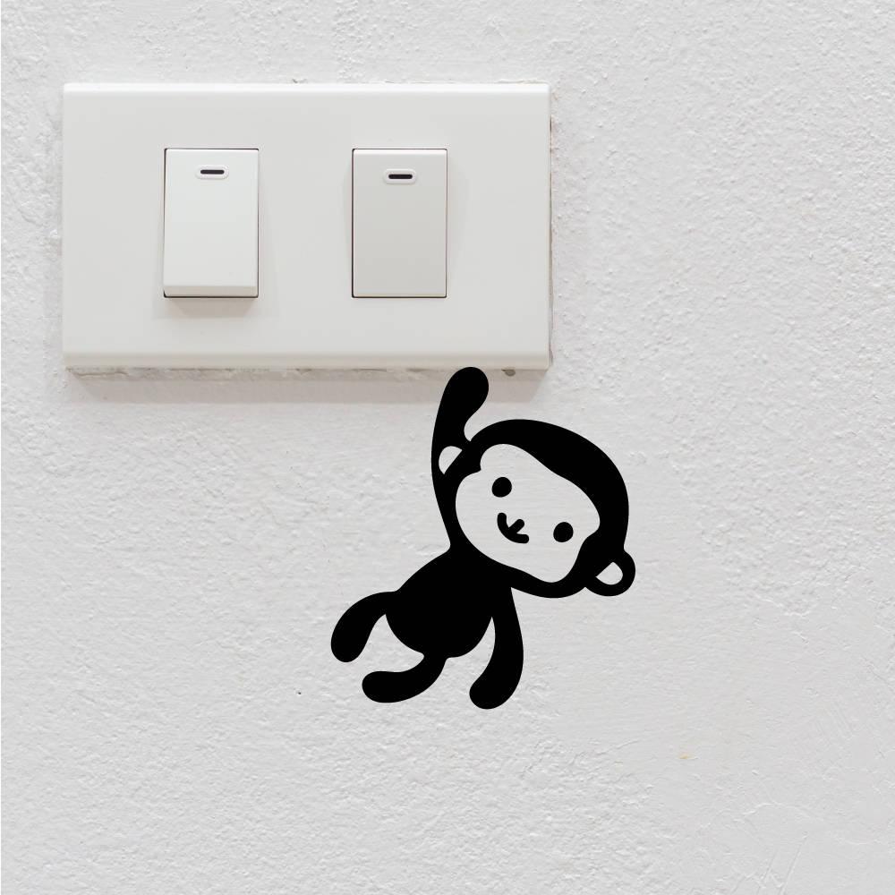 4 Cute Monkeys Wall Decals Sticker Nursery Decor Mural: Monkey Cute Light Switch Stickers Removable Cartoon Wall