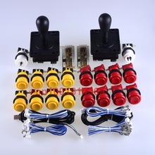 Arcade Game New DIY Parts for Mame USB 2 USB Encoder + 2 Joystick + 18 Classic Arcade Push Button Yellow + Red Color Kits
