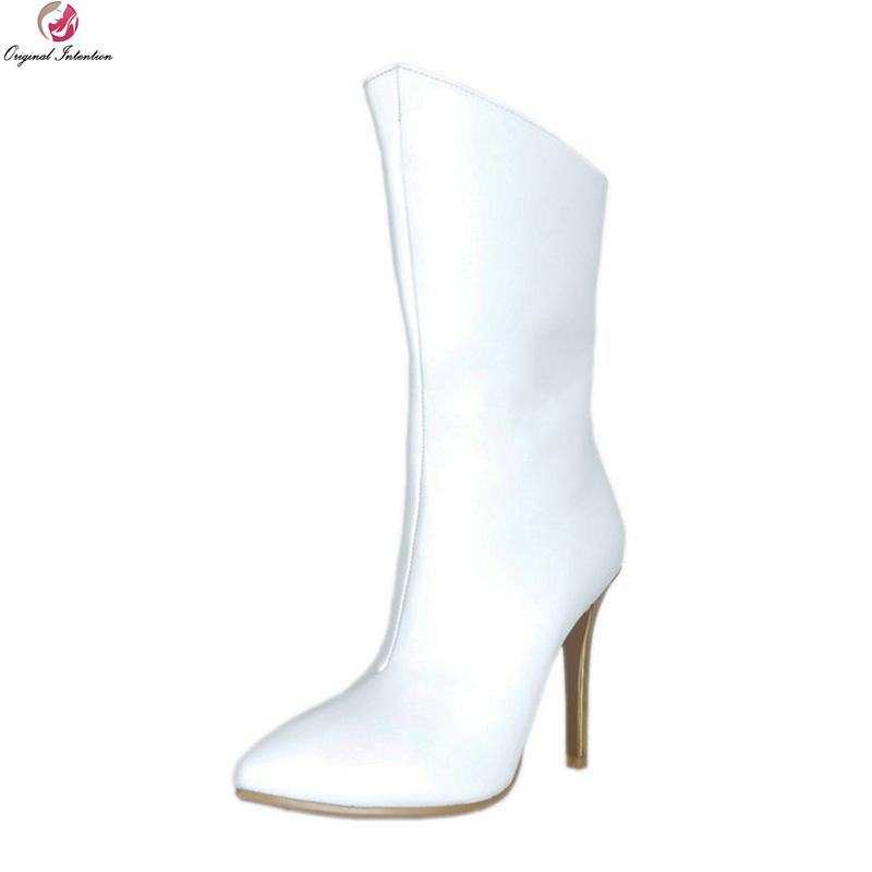 Original Intention Elegant Women Mid Calf Boots Pointed Toe Thin High Heels Boots Fashion White Shoes Woman Plus US Size 4-15Original Intention Elegant Women Mid Calf Boots Pointed Toe Thin High Heels Boots Fashion White Shoes Woman Plus US Size 4-15