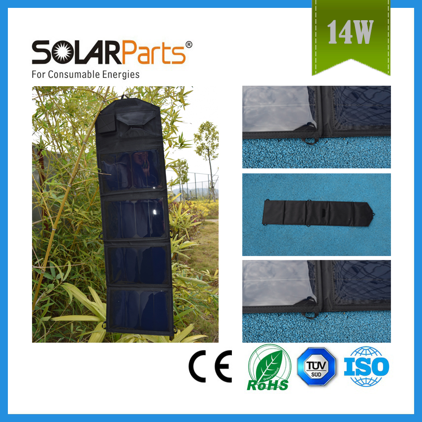 BOGUANG 14W Folding Bag with USB high efficiency sunpower cell foldable solar charger mobile phone charger Rechargeable
