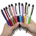1 Pcs Creative Crystal Pen Diamond Ballpoint Pens Stationery Ballpen Stylus Pen Touch Pen 11 Colors Oily Black Refill 0.7 mm