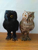 Large 17x13x28cm Simulation Owl Handicraft Plastic Furs Black Or Brown Owl Prop Home Garden Decoration Furnishings