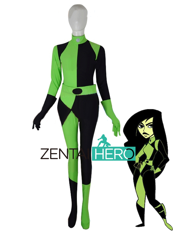 Free Shipping DHL Sexy Shego Of Kim Possible Cosplay Costume Catsuit Green&Black Spandex Fancy Dress Halloween Superhero Costume