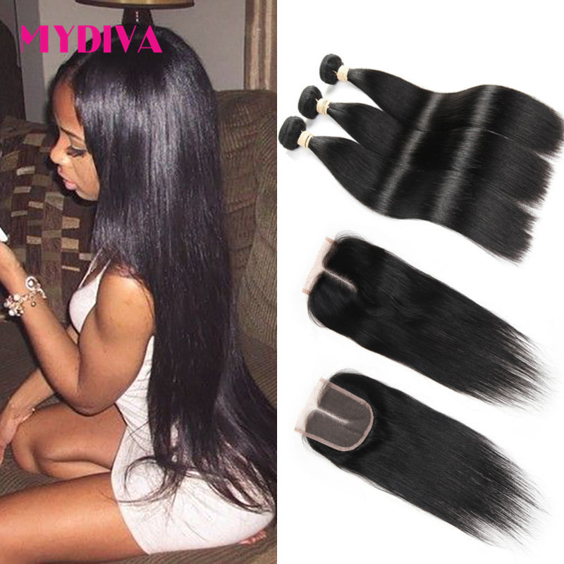 8A Grade Unprocessed Brazilian Straight Hair 3 Bundles With Closure Brazilian Virgin Hair With Closure Human Hair Weave