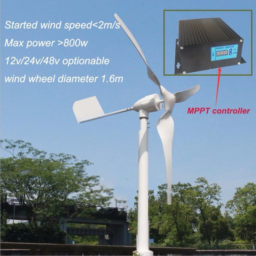 HAWT rated 600w Max 800w 12v 24v 50hz wind turbine generator with 12v 24v AUTO wind solar hybrid MPPT hybrid controller 600w wind solar hybrid controller mppt charging mode 12v 24v auto distinguish off grid battery controller