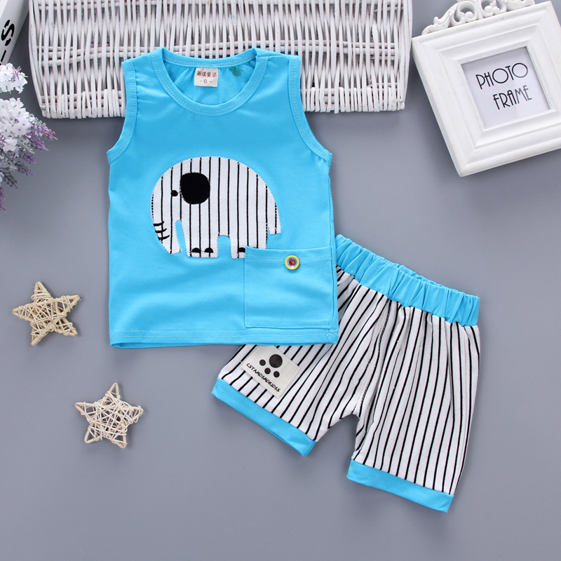 Baby Vest Pants 2Pcs/Set Kids Cartoon Elephant Clothing Sets Fashion Summer Children Boys Girl Tracksuits Toddler Casual Clothes