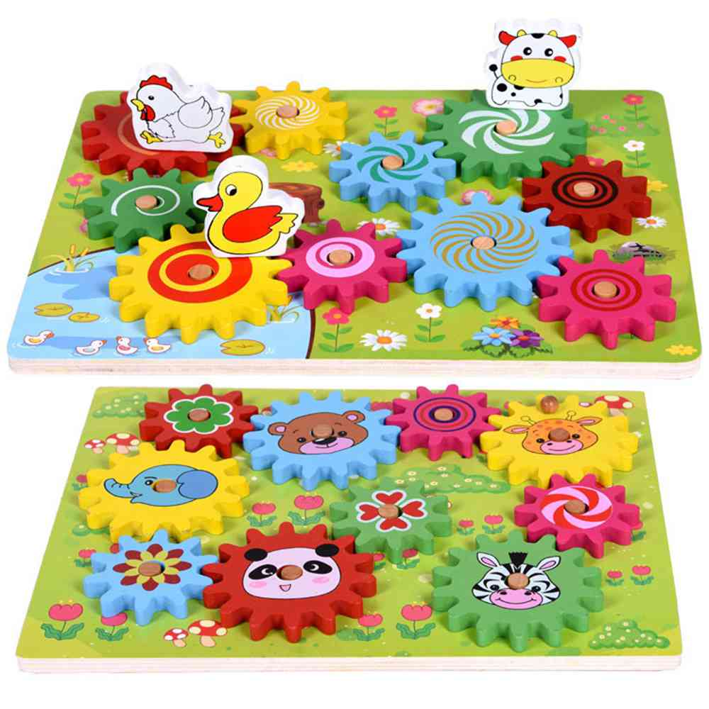 JMao Children's Wooden Toy Puzzle Toy Animal Gear Game Funny 3d Puzzle Game Gear Rotate Toys Early Education Turntable