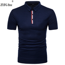 2018 New casual polo shirt  Tops brand male striped color men's slim short sleeved Polo shirts summer style dress men EU size tops summer style polo shirt men s causal fashion brand striped color slim short sleeved polo shirt dress men eu us size m xxl