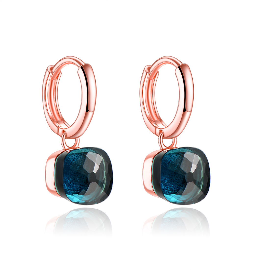 Classic Rose Gold Color Drop Earrings Solid 925 Sterling Silver Blue Topaz Earring for Women Wedding