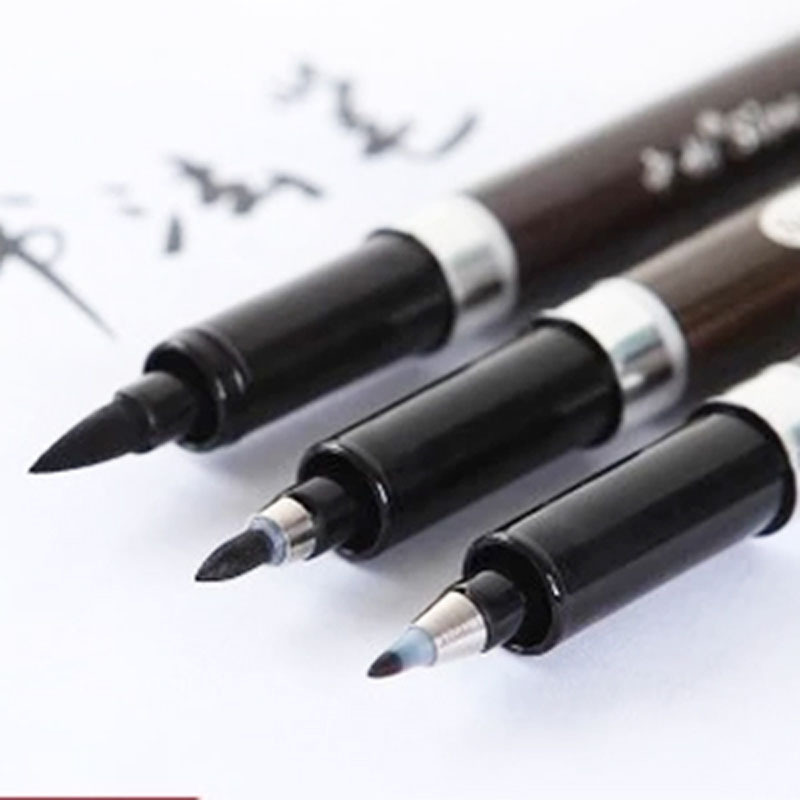 3 Pcs/lot Multifunction Brush Pen Calligraphy Pen Markers Art Writing Office School Supplies Stationery Student Free Shipping