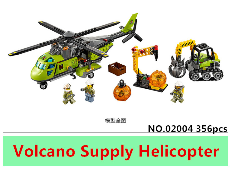 Lepin 02004 356pcs City Explorers Volcano Supply Helicopter DIY Building Blocks Bricks educational Toys for children Gifts 60123 superwit 72pcs big size city diy creative building blocks brick compatible with duplo sets lepin educational toys children gifts